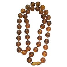"""Last Call! 28"""" Long Large Vintage Amber Bead Necklace with Drilled Amber Clasp"""