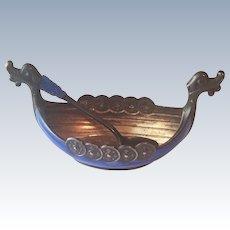 Vintage Sterling Silver Blue Enamel Viking Ship Salt Cellar & Spoon Norway