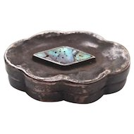 Miniature Vintage Sterling Silver and Abalone Pill Trinket Box