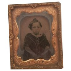 Antique Framed Daguerrotype Ninth Plate Somber Little Girl