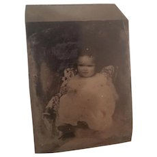 Antique Tintype Sweet Infant in Fancy Dress