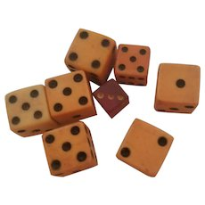 Set of 8 Tiny Miniature Dice Catalin & Bakelite