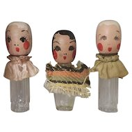 Set of 3 Adorable 1930's Wooden Doll Head Miniature Perfume Bottles