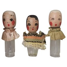 Set of 3 Adorable 1930's Wooden Doll Head Miniature Perfume Bottles