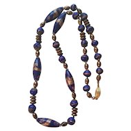 Vintage Murano Venetian Glass Gold & Cobalt Blue Beads Necklace Gold Filled Clasp