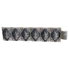 "Vintage Sterling Silver 1 1/2"" Wide Niello Goddess Bracelet Siam"
