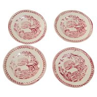 Set of Four Antique Child's Plates Carson Water Hen Red Transferware