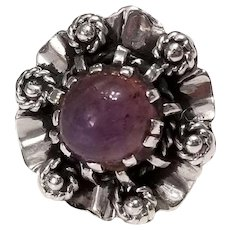 Vintage Amethyst Cabochon and Sterling Silver Ring