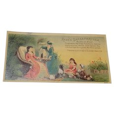 Ayers Sarsaparilla Garden Scene with Ladies, Dog and Children Victorian Trade Card