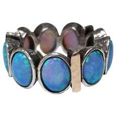 Vintage 14k Gold & 925 Sterling Silver Opal Eternity Ring Size 7.25