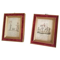 Pair of Charming Antique Velvet Framed Children's Lithographs
