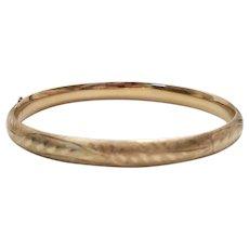Beautiful 14k Yellow Gold Etched Bangle Bracelet