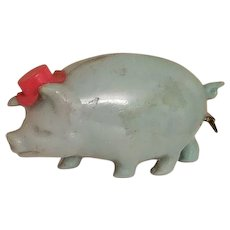 Celluloid Blue Pig Sewing Tape Measure with Red Top Hat Japan