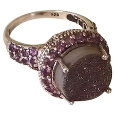 Breathtaking Sterling Silver Purple Druzy and Amethyst Vintage Ring