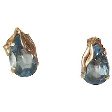 Vintage 14k Yellow Gold and Blue Topaz Pierced Earrings in original box