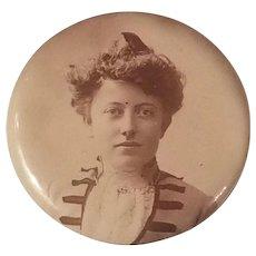 Victorian Era Photo Pin Button Sylvo Chicago, Woman