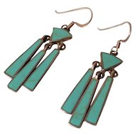 Vintage Turquoise and Sterling Silver Inlaid Dangle Earrings