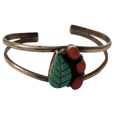 Beautiful Native American Sterling Cuff Bracelet Turquoise & Coral Signed JR