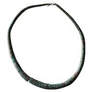 """Unusual Vintage Spiderweb Turquoise Heishi Graduated Necklace 19 1/2"""""""