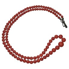 """Vintage Salmon Coral Graduated Bead Necklace silver clasp 19"""""""