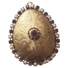 Large Elegant Domed  Locket with Seed Pearl and Amethyst Accents