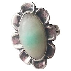 Vintage Sterling Silver Ring Mexico Frosted Jadeite Green Stone
