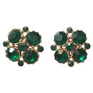 Weiss Emerald Green & Gold Tone Faceted Clip Back Earrings