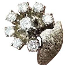 Over One Carat 14k Retro White Gold Diamond Right Hand Ring