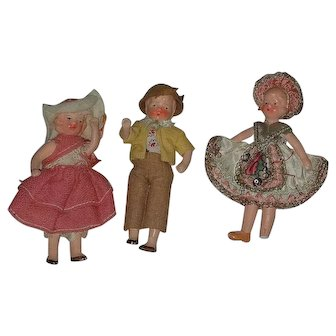 Set of 3 Miniature Composition Dolls in Folk Dress Germany