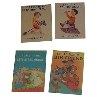 Set of 4 Vintage Miniature Children's Story Books Great For Dolls