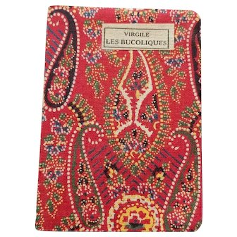 Vintage Book French Bibliotheque Miniature Red Paisley Cloth Cover