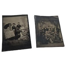 2 Small Antique Tintypes Ladies & Gents in Fancy Dress