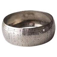 Vintage Wide Sterling Silver Etched Bangle Bracelet