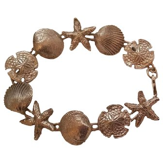 Sterling Silver Sea Shell Link Bracelet Sand Dollar, Starfish 7.5""