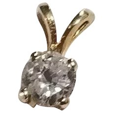 Half Carat Solitaire Diamond in 14k Gold Setting Pendant
