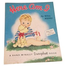 Vintage Here Am I By Nell Reppy Illustrated Children's Baby Cloth Book