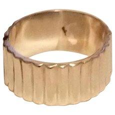 Wide Vintage Sterling Silver Ribbed Clamper Bangle Bracelet Mexico