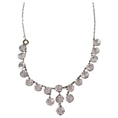 Vintage Open Back Bezel Set Clear Faceted Dangle Necklace
