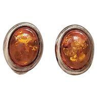 Large Baltic Amber & Sterling Silver Clip on Earrings