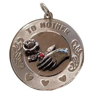 """Large Sterling Silver Pendant Charm """" To Mother"""" with Hand, Rose & Hearts"""