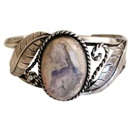 Large Mexican Fire Opal & Sterling Silver Cuff Bracelet