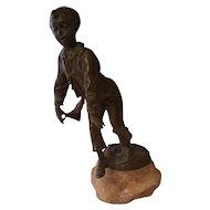 Vintage Miniature Bronze Dancing Boy in Waistcoat Signed