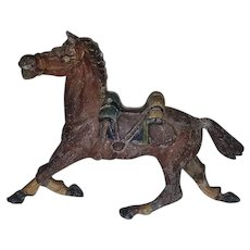 Vintage Lead Western Horse with Saddle Miniature Toy