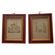Pair of Vintage Framed Charming Little Lithographs