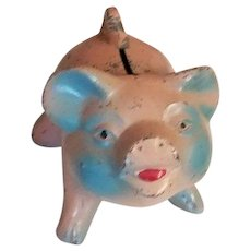 Vintage Cast Metal Pink Piggy Bank Savings and Loan