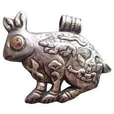 Large Southwestern Vintage Sterling Silver Rabbit Fetish Pendant with Coral Eyes