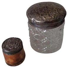 Pair of Antique Sterling  Repousse Top Victorian Dresser Jars Birmingham England