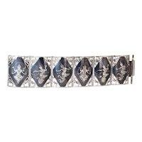 Huge Sterling Silver Siam Niello 6 Panel Bracelet