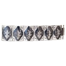 Huge Sterling Silver Siam Niello 6 Panel Bracelet