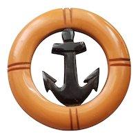 Vintage Bakelite Nautical Anchor Brooch Pin